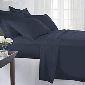 Pizuna 400 Thread Count Cotton Sheet Sets Queen Size Dark Blue, Soft Sateen 100% Long Staple Cotton Queen Bed Sheet Set, Blue 4 PC Sheet Set Cotton Include 1 Fitted Sheet, 1 Flat Sheet & 2 Pillowcase.- comfortable bed essentials