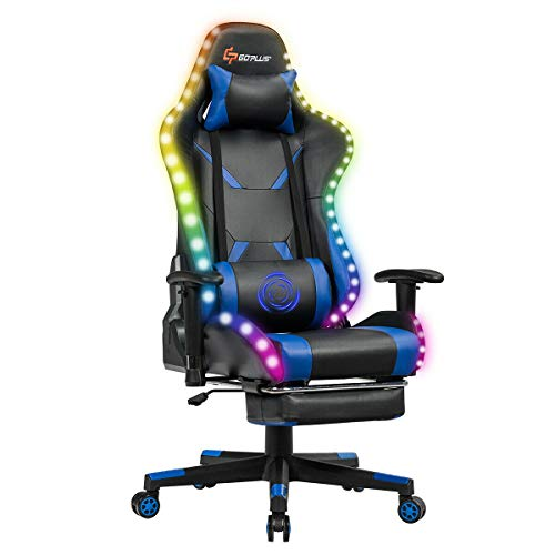 Goplus Massage Gaming Chair with Light - best gaming chairs