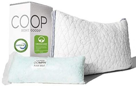Coop Home Goods - THE EDEN PILLOW - Ultra Tech Cover with Gusset - ADJUSTABLE Fill features cooling and hypoallergenic gel infused memory foam with fiberfill - MADE IN USA - STANDARD- comfortable bed essentials
