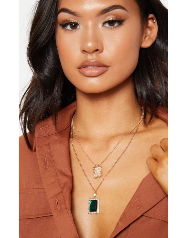Gold Cross And Green Gemstone Pendent Layering Necklace- accessories
