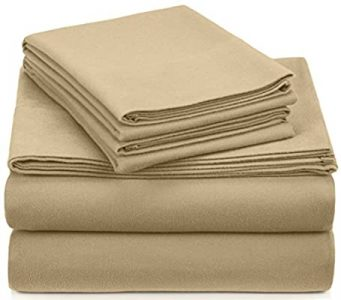 Pinzon Signature 190-gramme Cotton Velvet Flannel Sheet Set, Queen, Chamois , New,- comfortable bed essentials