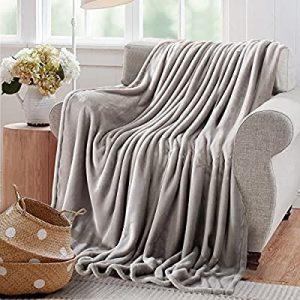 "Reafort Ultra Soft Flannel Fleece All Season Light Weight Living Room/Bedroom Warm Throw Blanket(Silver Grey, Full/Queen 90""X92"")- comfortable bed essentials"