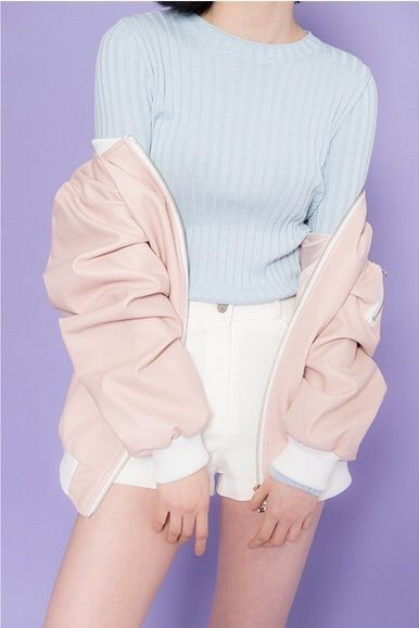 blue pastel t shirt with pink pastel bomber jacket