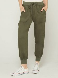 Drawstring Joggers in Twill for Women