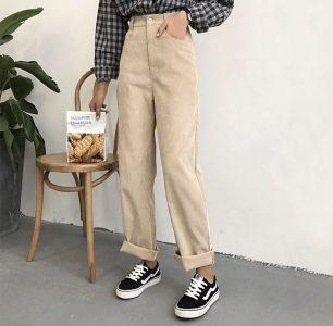Yesstyle K-fashion Wide Leg Corduroy Pants