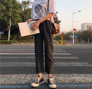 Yesstyle K-fashion Princessy - Drawcord Plaid Pants