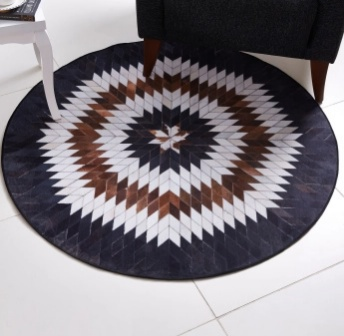 Faux print Leather patch rug - living room design essentials