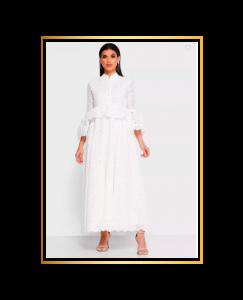 Mixed Pattern Schiffli Dress