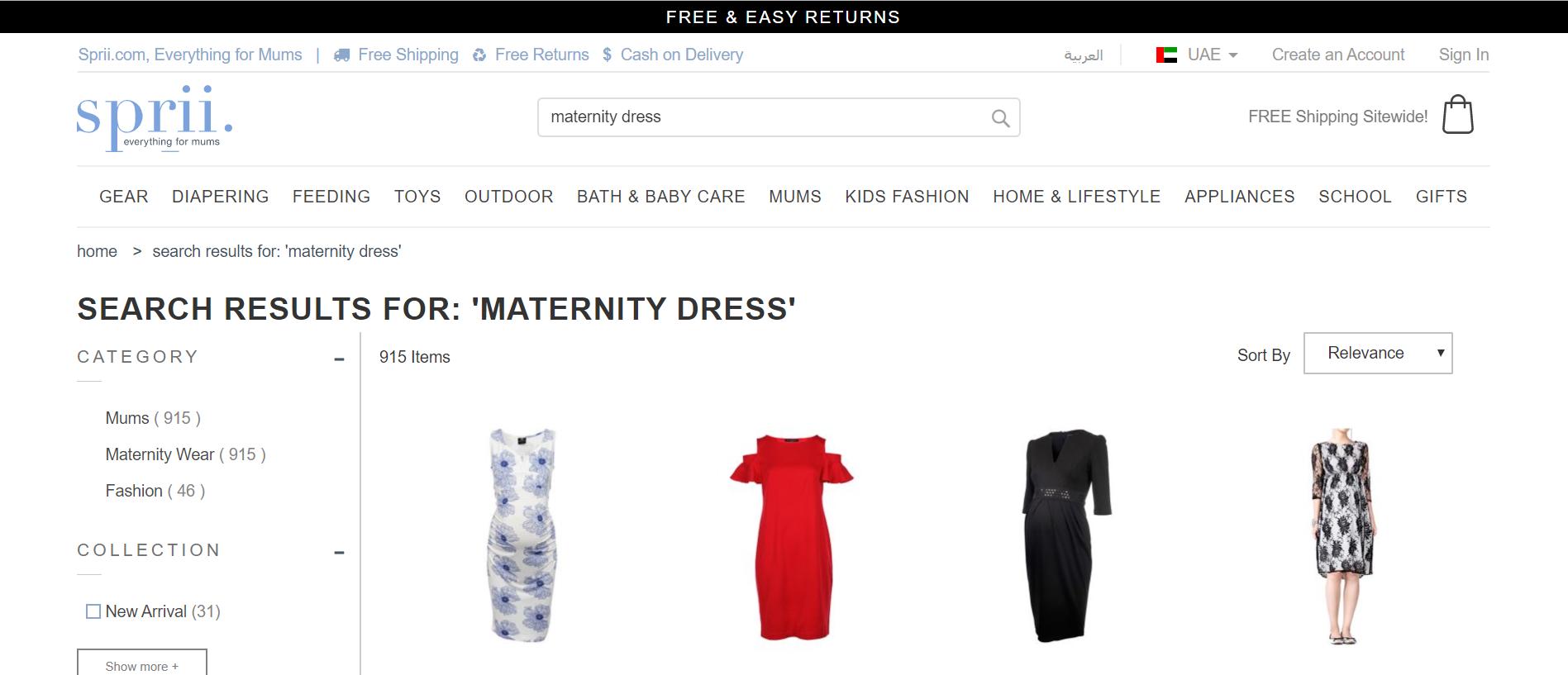Maternity dresses Sprii VoucherCodesUAE