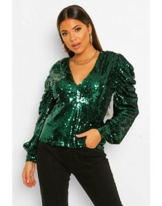 holiday outfits for women - Puff Sleeve Sequin Top