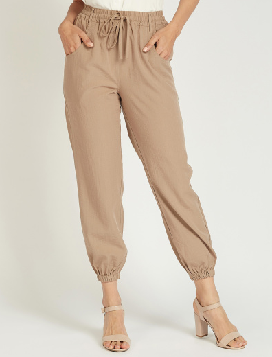 Solid Mid-Rise Joggers for Women