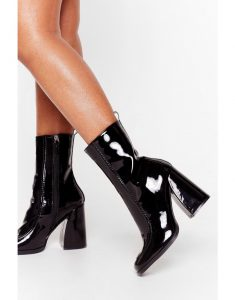 Curve 'Em Patent Faux Leather Heeled Boots