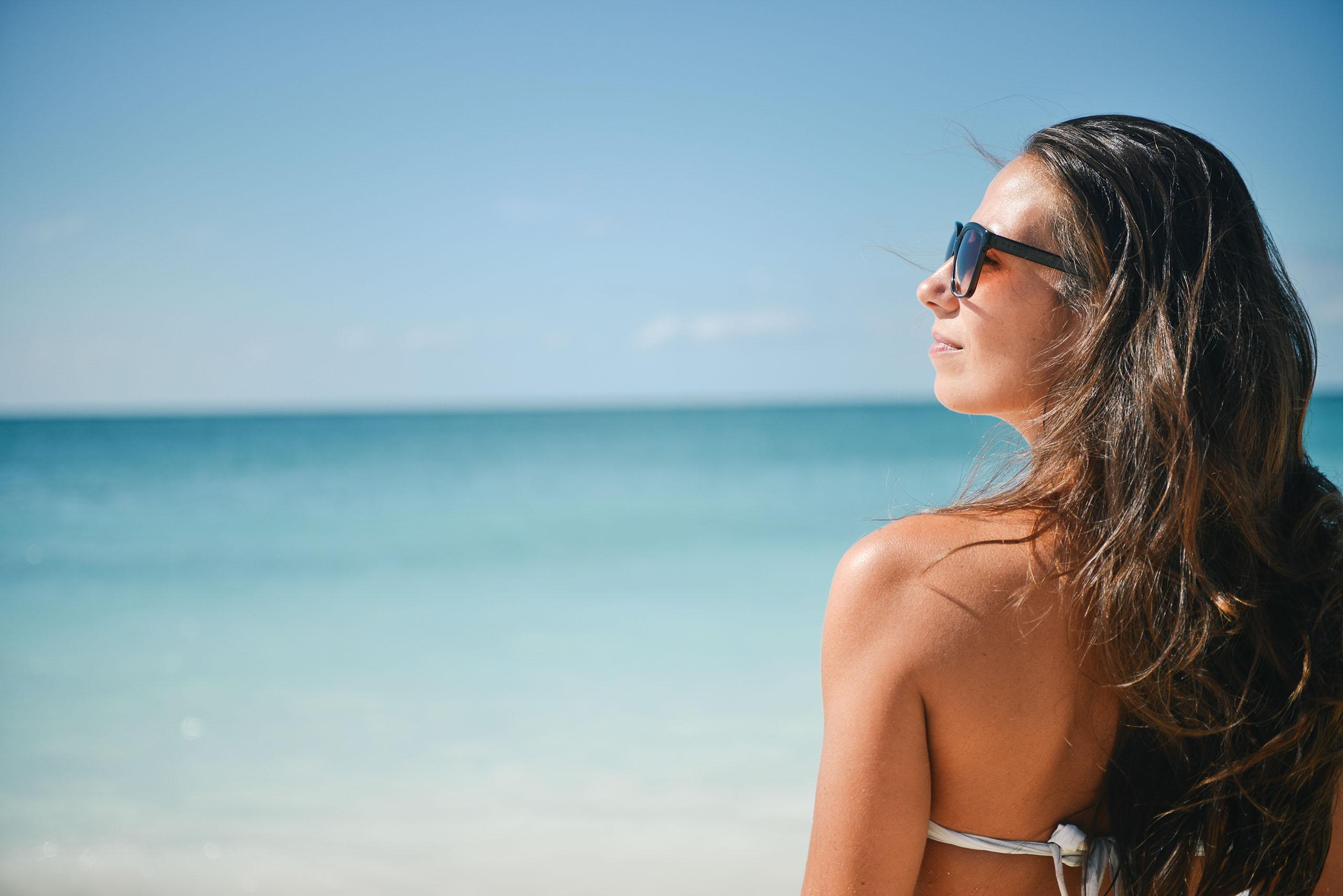 women on sunny beach